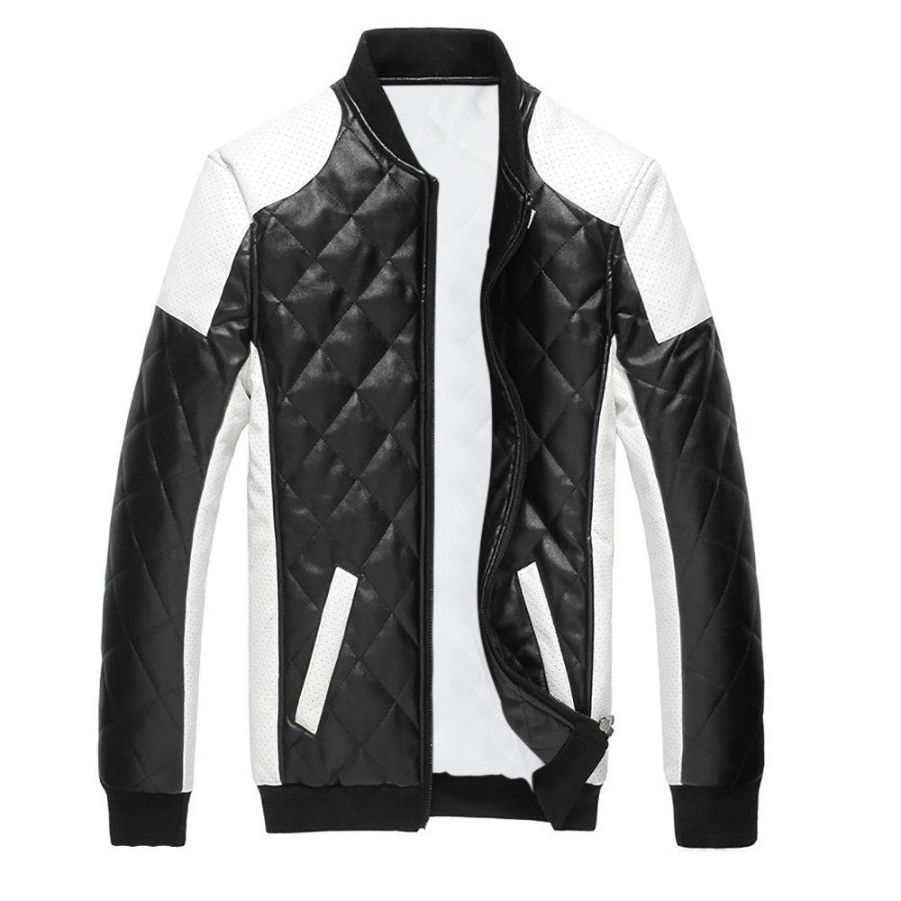 Cloud Style Men's latticed Baseball Bomber Jacket Slim Fit Coat, Large, Black by Cloudstyle