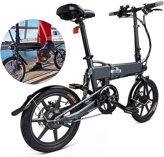 Bicicleta Eléctrica Plegable Con Pedales Linterna Asiento Ajustable ...