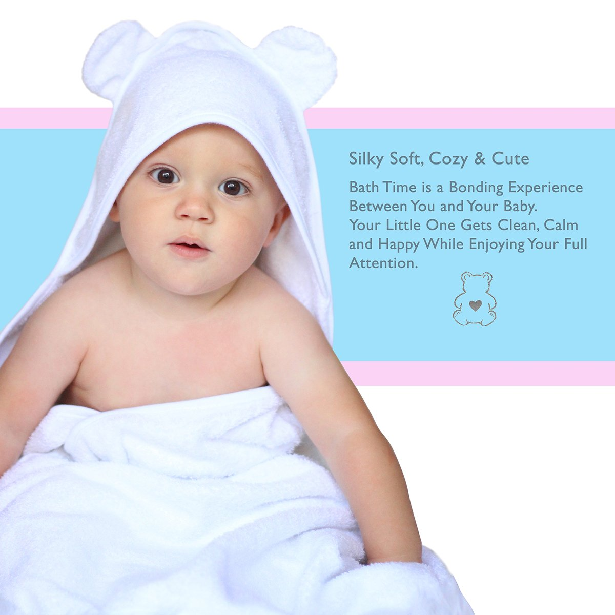 Amazon.com : ORGANIC Bamboo Baby Bear Hooded Bath Towel & Washcloth ...