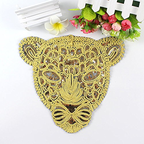 Toonol New Large Gold Sequins Leopard Head Patch DIY Clothes Patches for Clothing  Sew-on 488945f690b0