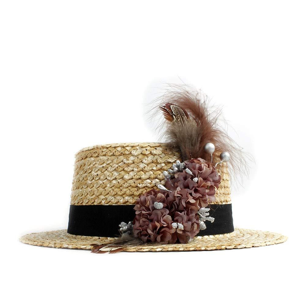 MUMUWU Sun Hat Stalk Woman Beach Flower Feather Fashion Sunscreen Beach Sun Cap Ladies Categorical Hat (Color : 1, Size : 56-58CM)