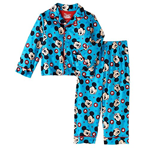 AME Disney Mickey Mouse 2 Piece Button Down Pajama Sleepwear Set Blue (4T)