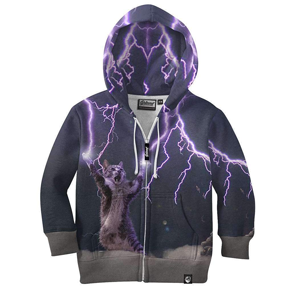 Beloved Shirts Lightning Cat Kids Hoodie