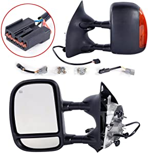 Towing Mirrors Replacement for 1999-2007 Ford F250 F350 F450 F550 Super Duty 2001-2005 Ford Excursion Tow Mirrors Power Heated with LED Signal Light Side Mirrors
