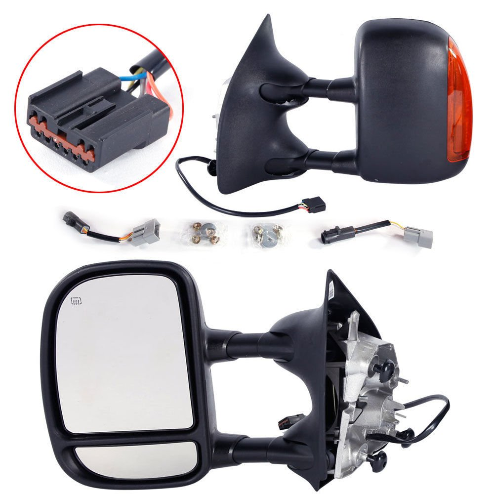 Towing Mirrors for 1999-2007 Ford F250 F350 F450 F550 Super Duty & 2001-2005 Ford Excursion Tow Mirrors Power Heated with LED Signal Light Side Mirrors Roadstar
