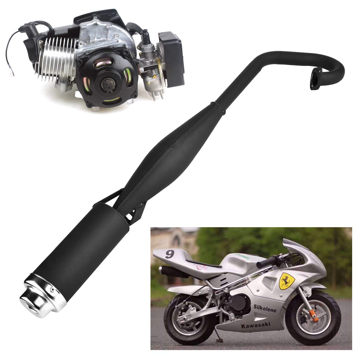 47cc 49cc 2 Stroke Engine Pocket Bike Mini Quad Exhaust Pipe Muffler with Expansion Chamber by Wingsmoto (Image #1)