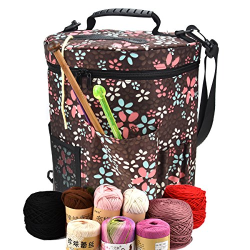 Large Capacity/Portable/Lightweight Yarn Storage Knitting Tote Organizer Bag with Shoulder Strap Handles Looen W/Pockets for Crochet Hooks & Knitting Needles ... (Brown)