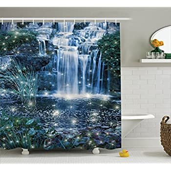Elegant Magic Home Decor Shower Curtain By Ambesonne, Fairy Fantastic Waterfalls At  Night With Alluring Light On The Water Fresh Landscape, Fabric Bathroom Set  With ...
