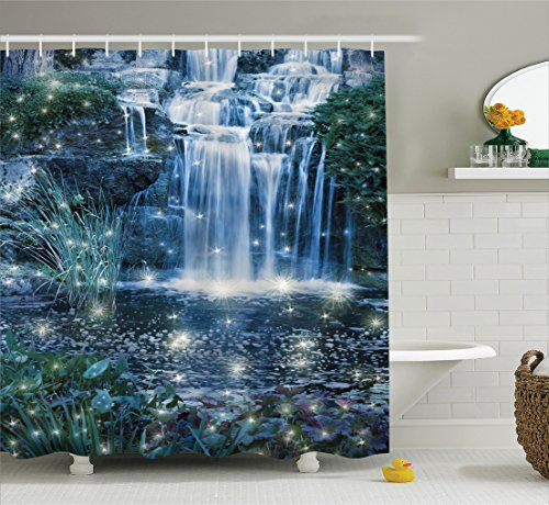 Magic Home Decor Shower Curtain Set by Ambesonne, Fairy Fantastic Waterfalls at Night with Alluring Light on the Water Fresh Landscape, Bathroom Accessories, 75 Inches Long, Grey Green Waterfall Night Light