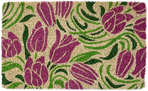 Entryways Blushing Tulips, Hand-Stenciled, All-Natural Coconut Fiber Coir Doormat 18