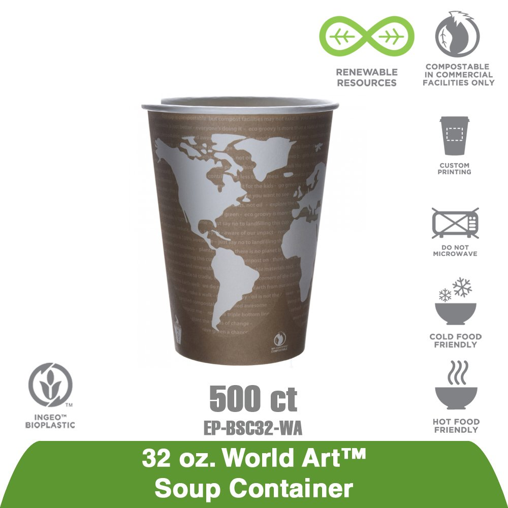 Amazon.com: Eco-Products EPBSC32WA World Art Renewable & Compostable Food Container - 32oz, 25 Per Pack (Case of 20 Packs): Home Improvement