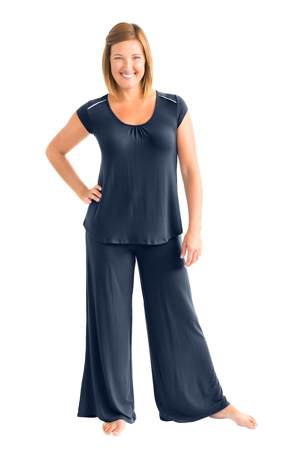 Kindred Bravely Amelia Ultra Soft Maternity & Nursing Pajamas - Pants Set (Navy Blue, XXL)