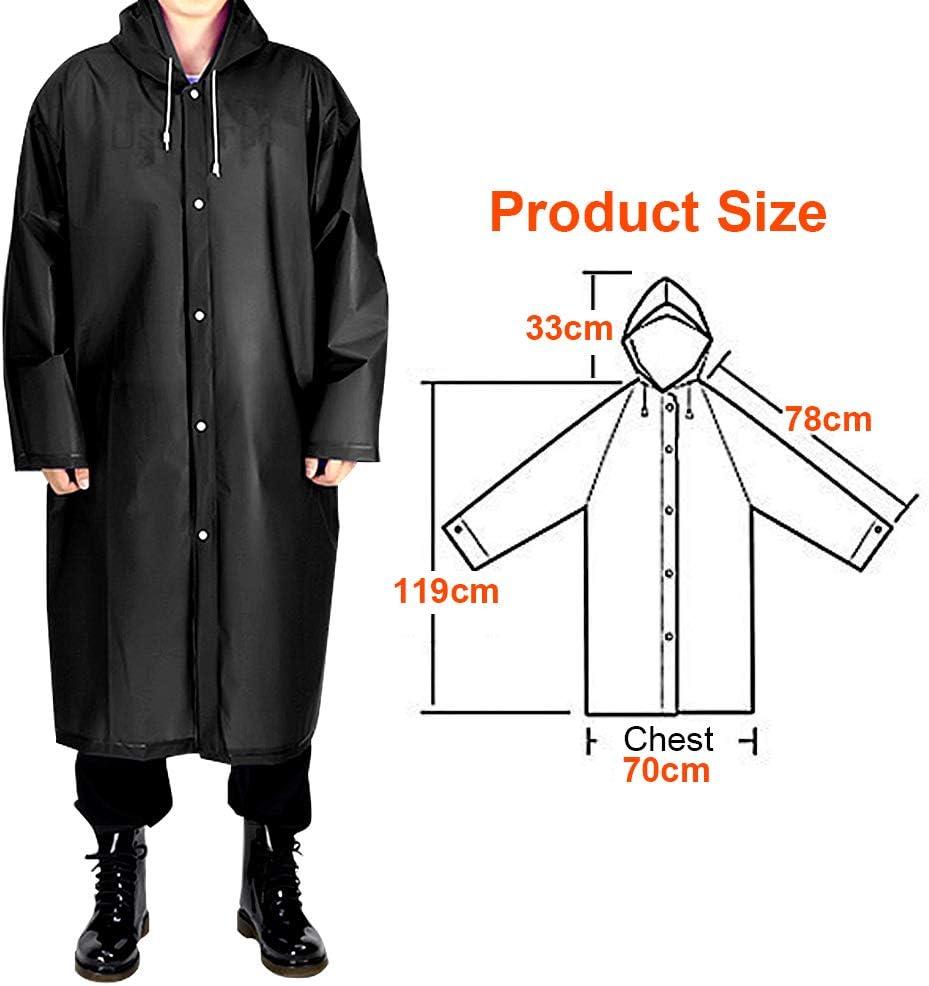 Reusable Rain Cape Eva Raincoat with Hood Waterproof Breathable Rainwear Portable Unisex Rain Jacket for Hiking Cycling Camping SANBLOGAN 2 Piece Rain Poncho