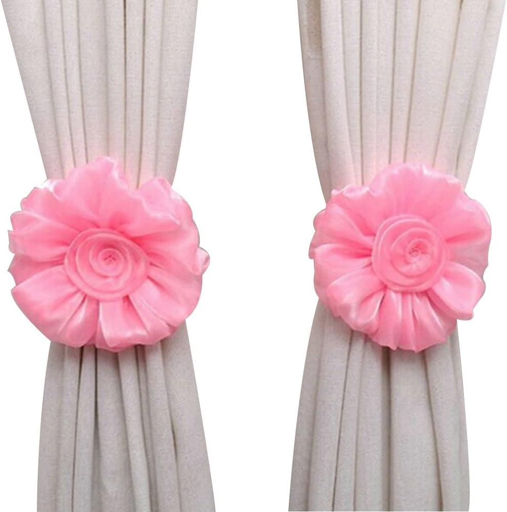 Pink VERYCO Cute Flower Shape Tie Backs Window Curtains Holder Clamp For Nursery Bedroom Girls Room-Roseo