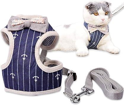 Mignon Gilet Bleue Style Gentleman avec Laisse R/églable Harnais Chaton pour Chats MyfatBOSS Harnais Chat