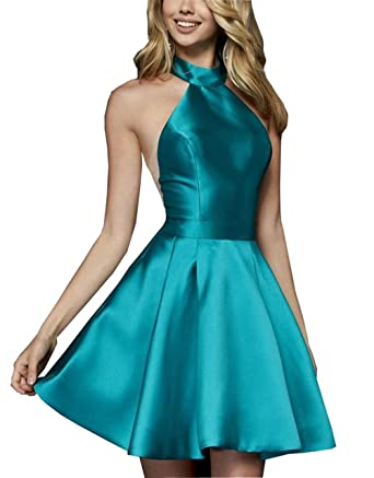 Simple High Neck Homecoming Dresses Cheap Satin A-line Short Prom Dress Formal Gowns Emerald