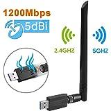 ANEWISH 1200Mbps Adaptador WiFi USB 3.0 Wireless USB Adapter con Antena 5dBi Tarjeta de Red 802.11ac Dual Band 2.4G/5.8G Dongle WiFi Receptor WiFi para PC Windows 10/8.1/8/7/Vista, Mac OS 10.9-10.13: Amazon.es: Electrónica