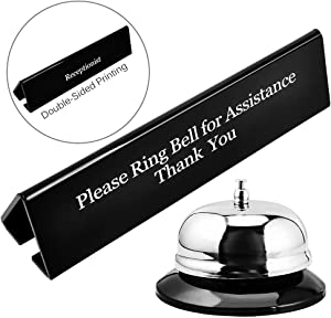 UCEC Call Bell, NO Receptionist Sign, 3.35 Inch Metal Construction Desk Service Dinner Bell, Please Ring Bell Sign for Service Assistance for Hotels, Schools, Restaurants, Reception Areas, Hospitals