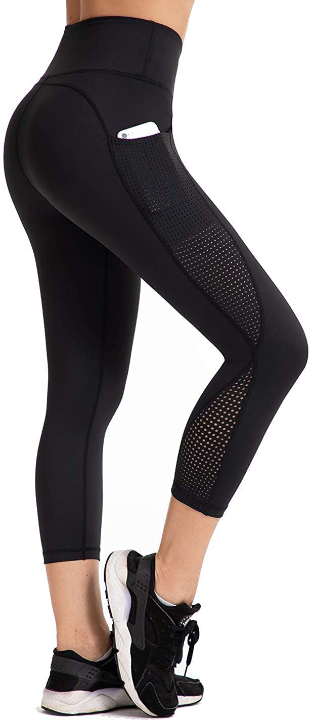 UURUN High Waist Yoga Pants Capri Workout Running Leggings with Pockets - Non-See-Through Fabric: Clothing
