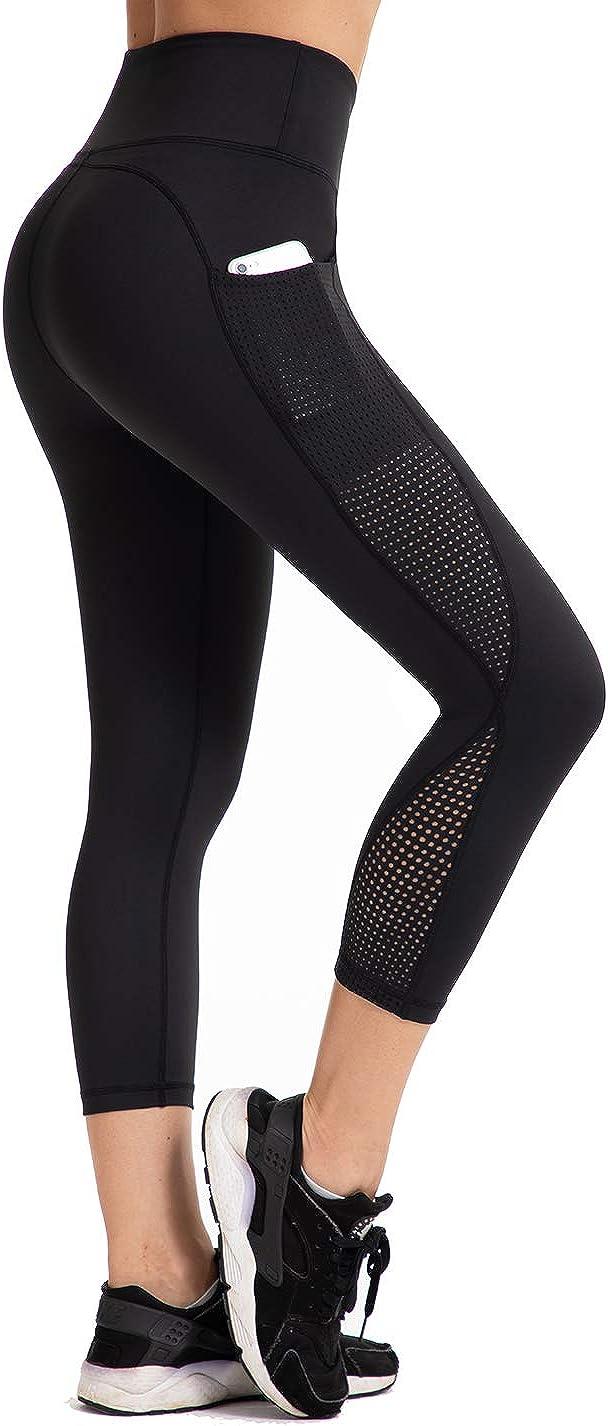 UURUN High Waist Yoga Pants Capri Workout Running Leggings with Pockets - Non-See-Through Fabric: Clothing