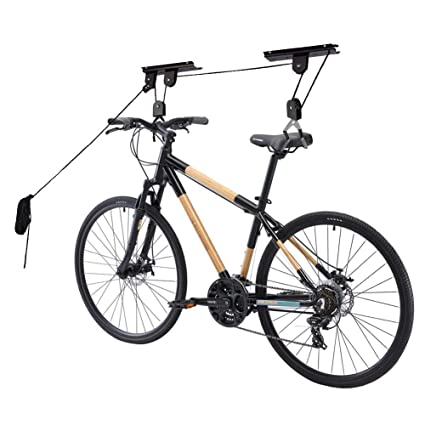 Bike Hoist Bicycle Lift for Garage Ceiling Storage, Heavy Duty Mountain  Bicycle Hanging Rack with 3 Pulley and 45 ft Adjustable Rope | 45 KGCapacity