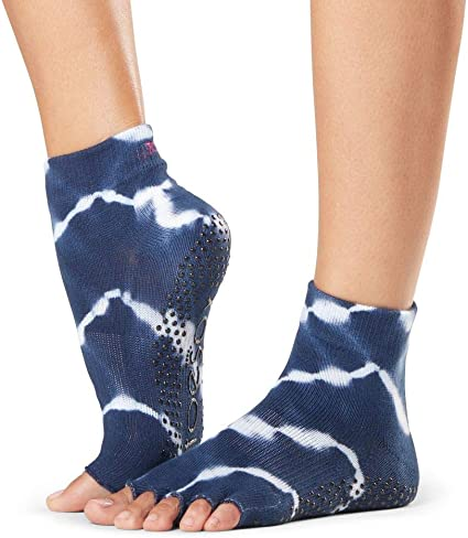 ToeSox Womens Ankle Half Toe Grip Yoga Socks, Cosmic, Medium