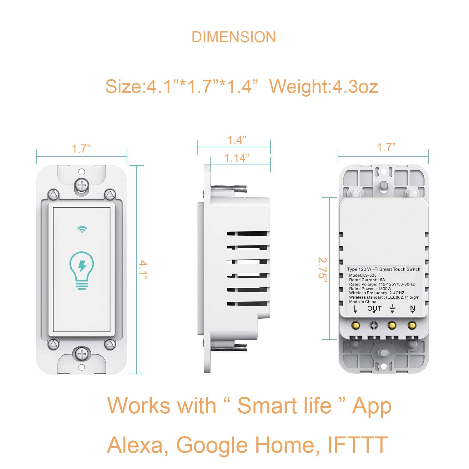 Smart Switch, WiFi Light Switch In-wall Wireless Compatible With Amazon  Alexa and Google Home, Timing Function, Suit for 1/2/3/4 Gang Switch Box,