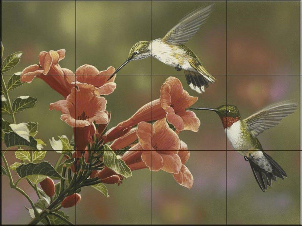 Ceramic Tile Mural - Hummingbirds and Trumpet- by William Vanderdasson - Kitchen backsplash / Bathroom shower