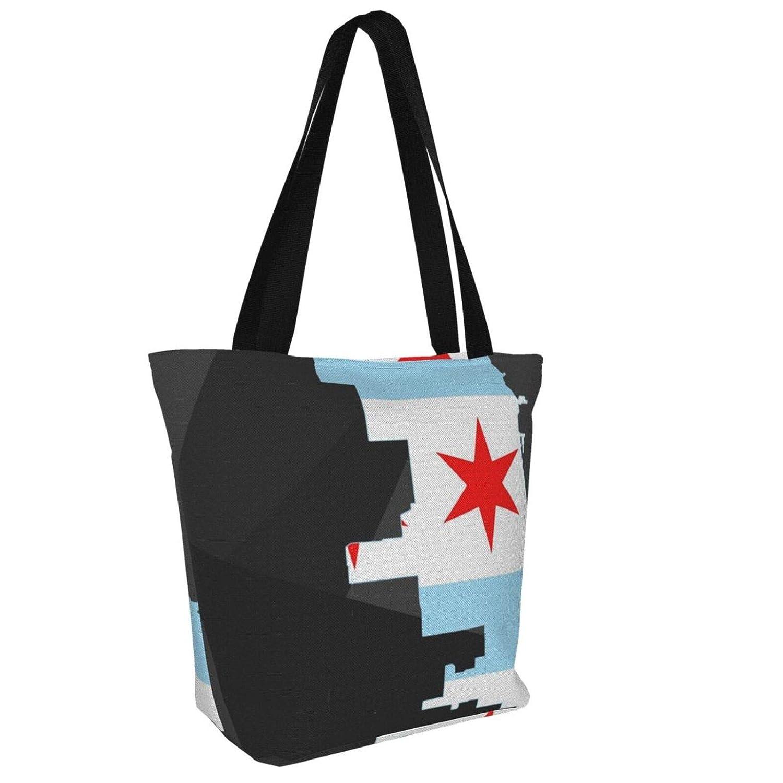 Tropisk rosa plumeria blommor kvinnor stor storlek kanvas axelväska hobo crossbody handväska ledig bärkasse Flag Map of Chicago