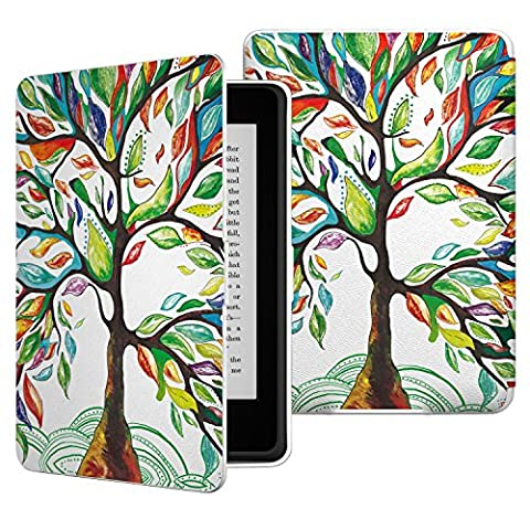 MoKo Case for Kindle Paperwhite, Premium Thinnest and Lightest PU Leather Cover with Auto Wake / Sleep for Amazon All-New Kindle Paperwhite (Fits 2012, 2013, 2015 and 2016 Versions), Lucky (Kindle Fire 7 2014 Charger)