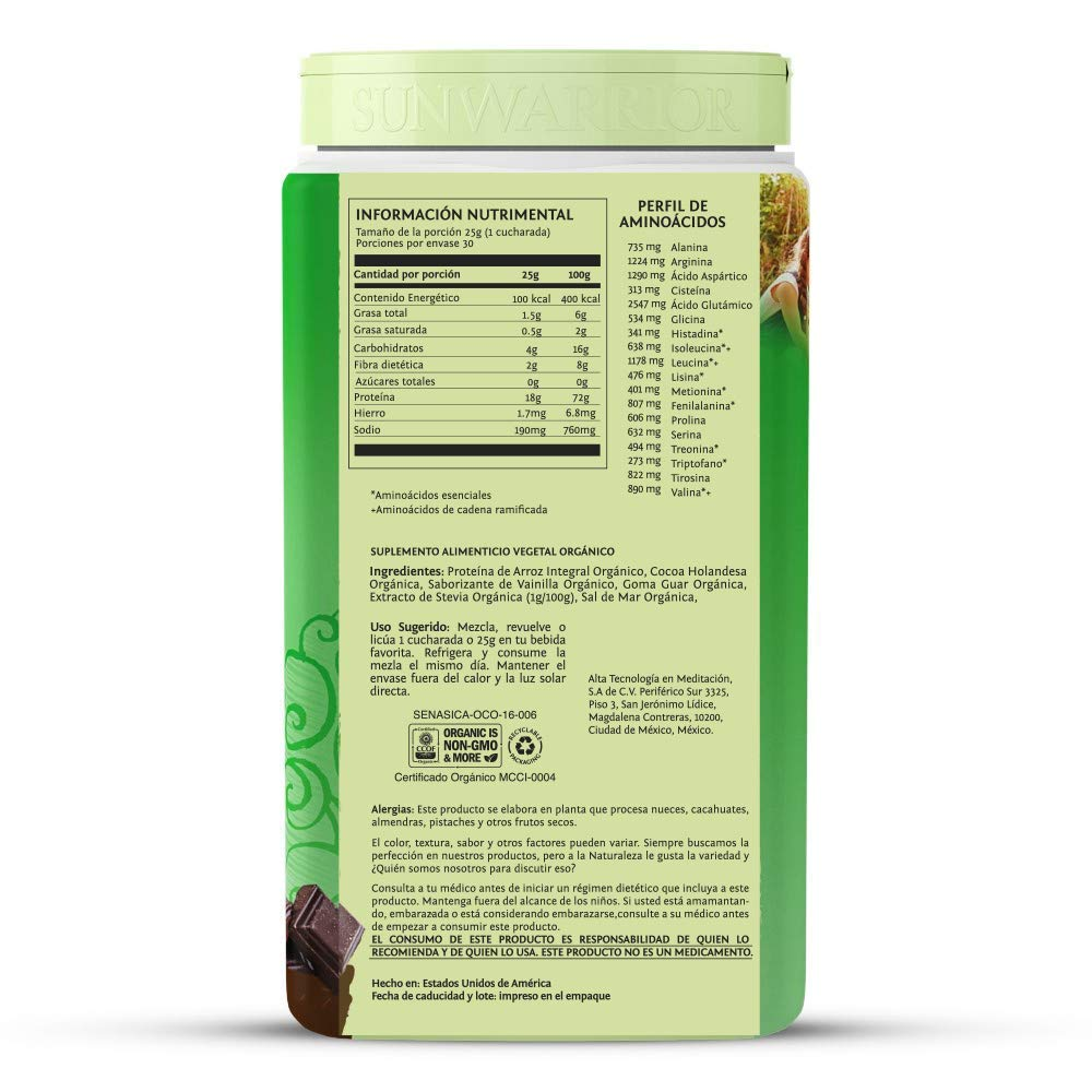 Amazon.com: SUNWARRIOR Organic Brown Rice Protein Chocolate, 750 GR: Health & Personal Care