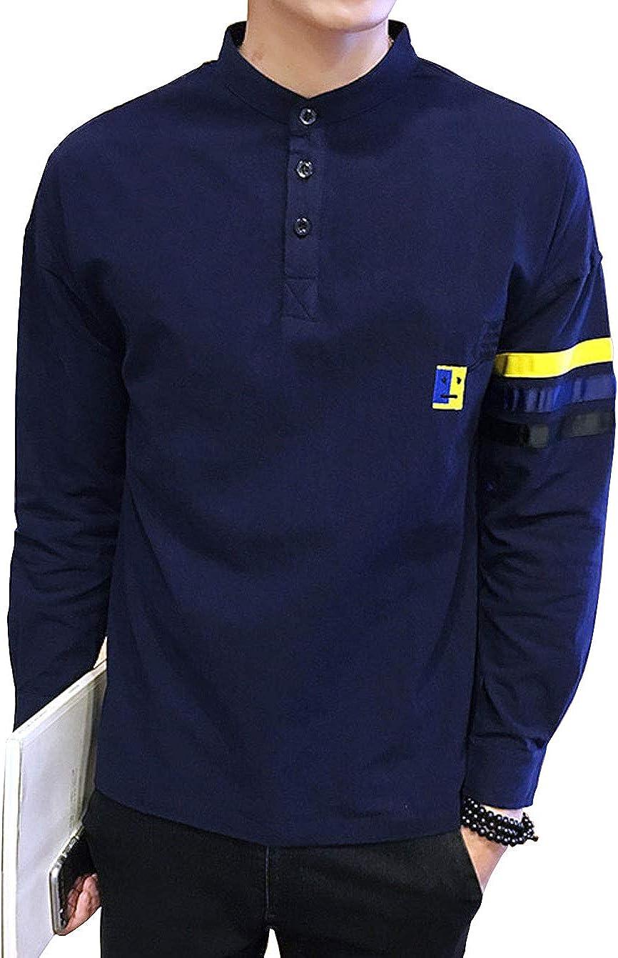 CHARTOU Mans Casual Striped Long Sleeve Emboridered Mandarin Collar Henley Shirt Tops