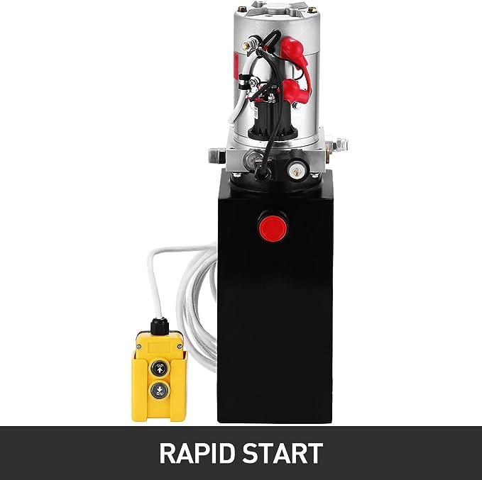 VEVOR Bomba Hidr/áulica Remolque 10L Bomba Hidr/áulica de Acci/ón Simple 12V Cilindro Hidr/áulico para Elevador de Tijera Bomba Hidr/áulica con Efecto Simple