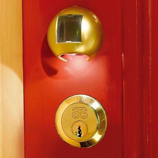 Nueva cerradura de llave de la puerta inalámbrico funciona con energía solar luz led ojo agujero