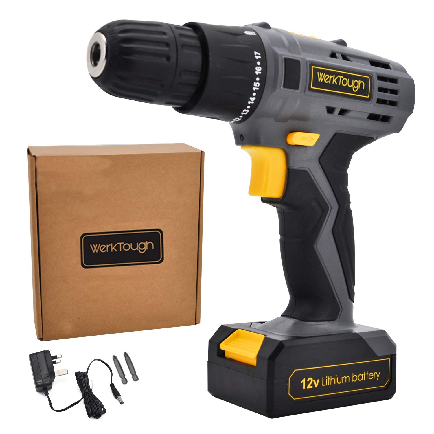 Werktough D018 12V Cordless Drill Driver Powerful Screwdriver Lion Battery with Charger