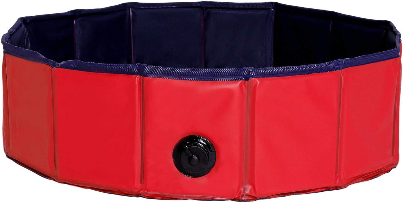 Dibea PVC, Piscina para Mascotas, Bañera Plegable para Perros, Ø 80 Cm, Rojo/Azul Oscuro, S