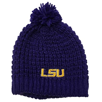 dfcecd26878 ... get lsu tigers tow purple thick acrylic knit skull beanie hat cap with  poof ball a9803