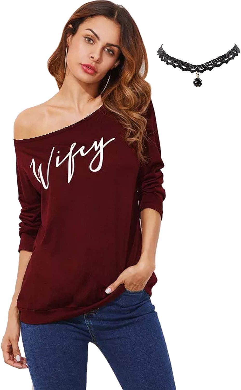 BUOYDM Mujer Camiseta Blusa Sin Hombros de Manga Larga Túnica Tops T-Shirt