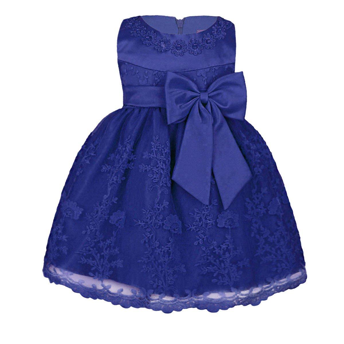 Freebily Baby Mädchen Kleid Taufekleid Kind festliches Kleider Prinzessin Hochzeit Blumenmädchen Kleinkind Kleidung 68 74 80 86 92