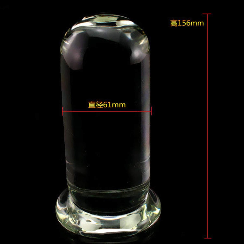SA Tshirt Butts Plugs Cylindrical Transparent Glass Anal Plug Huge Big 61mm Diameter Buttplug Large Butt Plug Anus Stimulator,Butt Play Plug Tail Silicone Jewel YKA