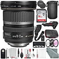Canon EF-S 10-22mm f/3.5-4.5 USM Lens and Xpix Platinum Bundle w/ 16 GB + Filter Kit + Tripod + 24pc SD Holder + Remote + Strap + Deluxe Cleaning Kit + More