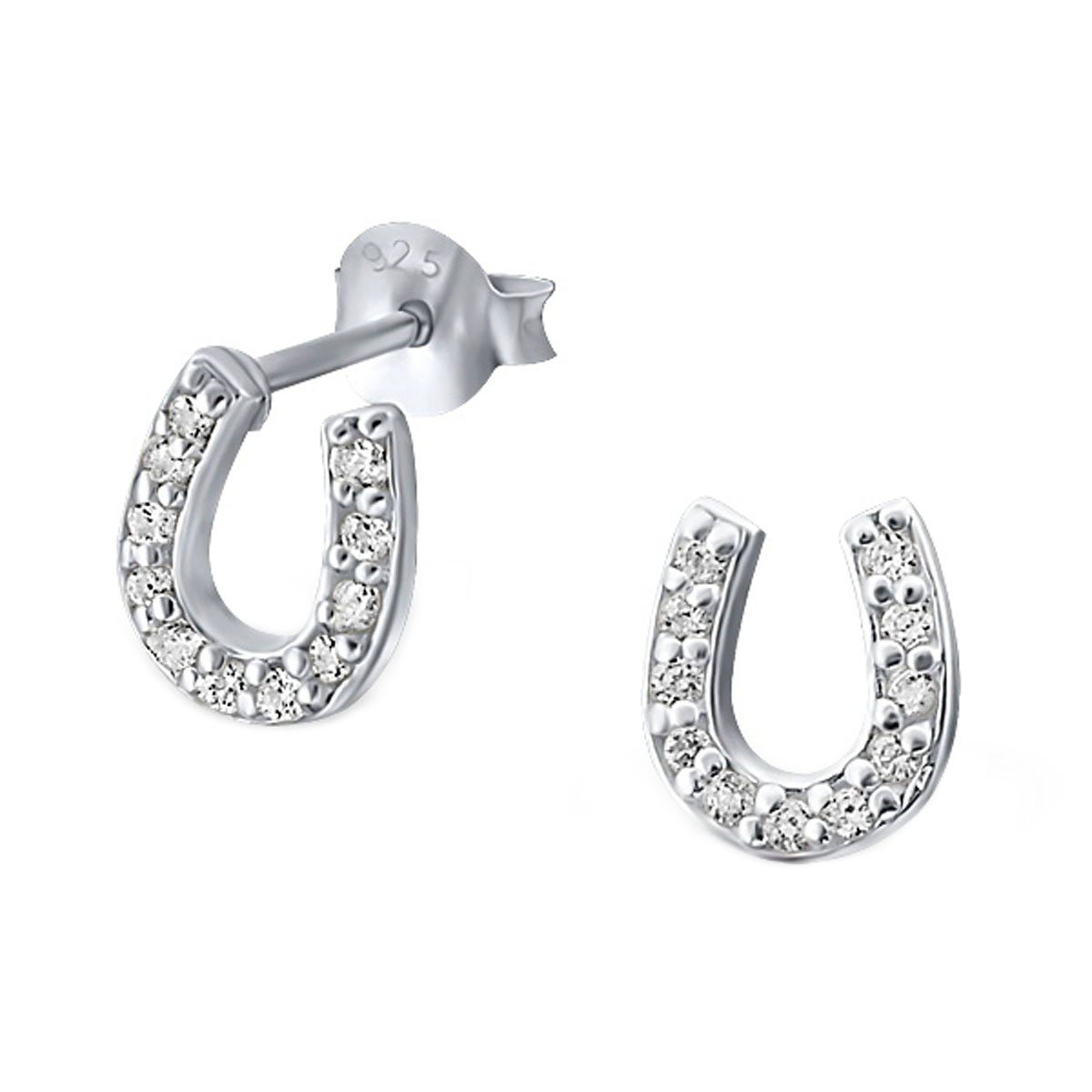 Sterling Silver CZ Horseshoe Earrings (E18403)
