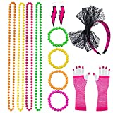 Coobey 80s Neon Bracelet Necklace Bow Headband Fishnet Gloves Lighting Earring