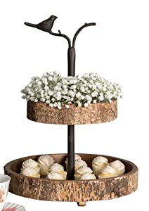 Colonial Tin Works: Bird and Birch Two Tiered Tray