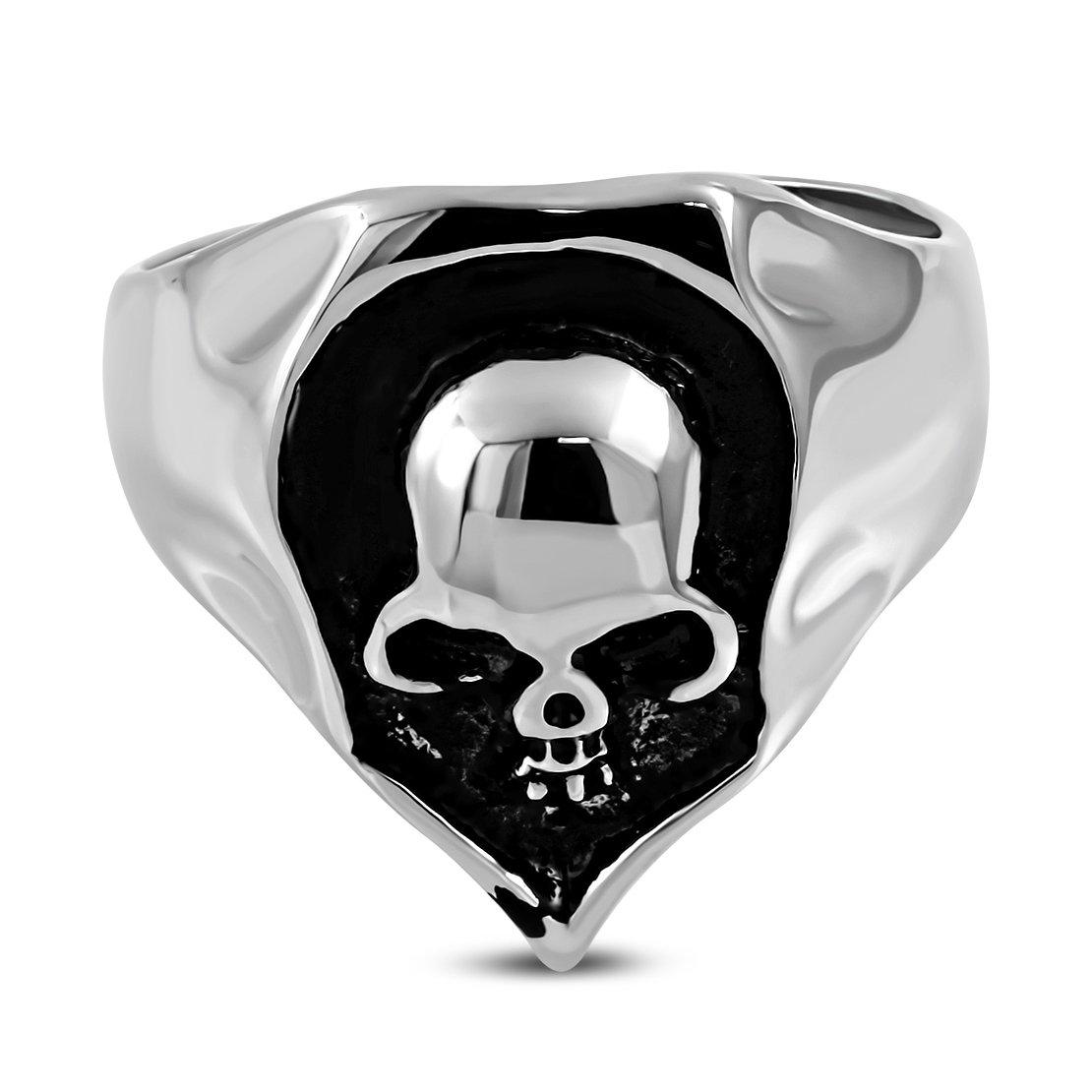 Stainless Steel 2 Color Crest Skull Shield Biker Ring