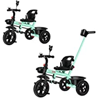 2 in 1 Kids Push Along Tricycle Baby Toddler Trike Bike 3 Wheel Ride On Toy Children Infant Stroller Parent Handle…