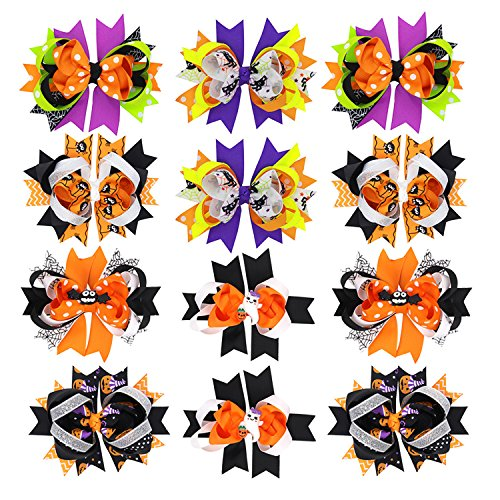 Halloween Hair Bows Spider Pumpkin Witch Ribbon Bow Clip For Toddlers Girls Kids