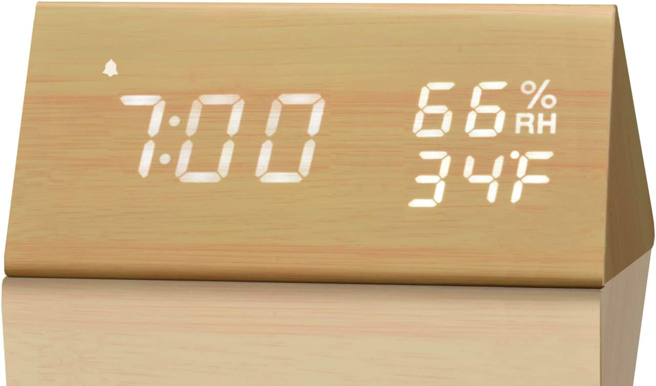 Digital Alarm Clock, with Wooden Electronic LED Time Display, 3 Alarm Settings, Humidity & Temperature Detect, Wood Made Electric Clocks for Bedroom, Bedside… (Yellow)