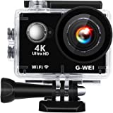 G-WEI Touchscreen Action Camera,4K WIFI Video Cam 16MP Ultra HD Waterproof Sports Camera with Remote Control 170°Wide-angle 2 Inch LCD With 17 Accessories (Black)