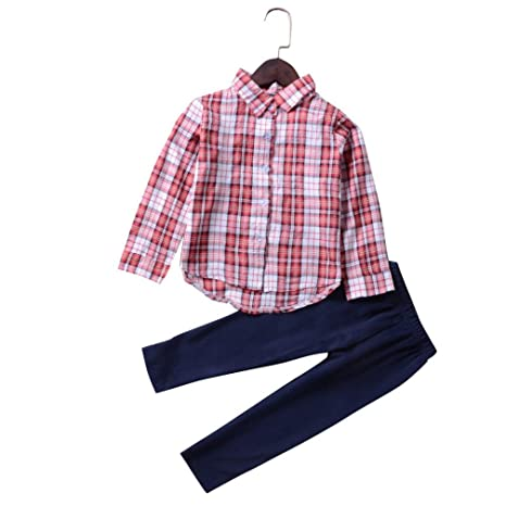 Fineser 2PCS Toddler Kids Baby Girls Spring Long Sleeve Plaid Button Down T-Shirt Tops+Pants Outfits Set